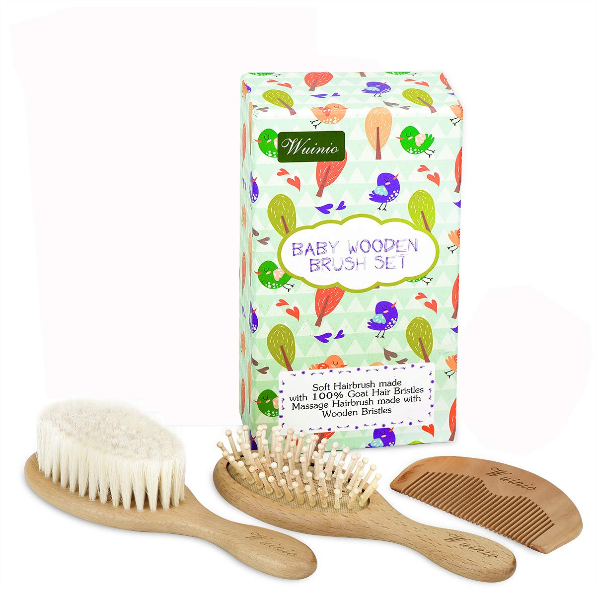 4Pcs Wooden Baby Goat Hair Brush and Comb Set Grooming kit for Newborns Toddlers//Soft Goat Hair Bristles for Cradle Cap//Wood Bristles Brush for Massage//Baby Shower Registry Gift