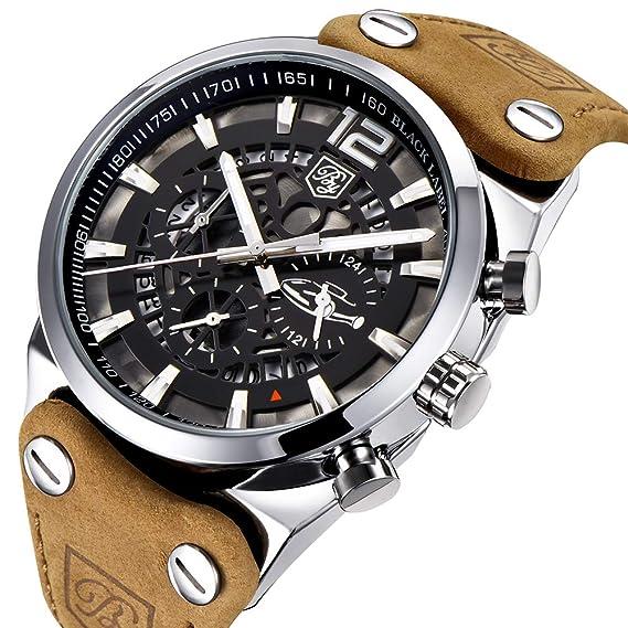 Benyar - Reloj de Pulsera para Hombre, con cronógrafo Militar y Esqueleto de Cuarzo, para Hombre, Esfera Grande, Reloj de Pulsera para Hombre: Amazon.es: ...