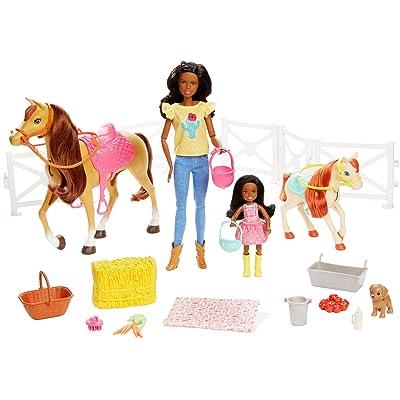 Mattel Barbie Hugs N Horses Playset, Brunette: Toys & Games