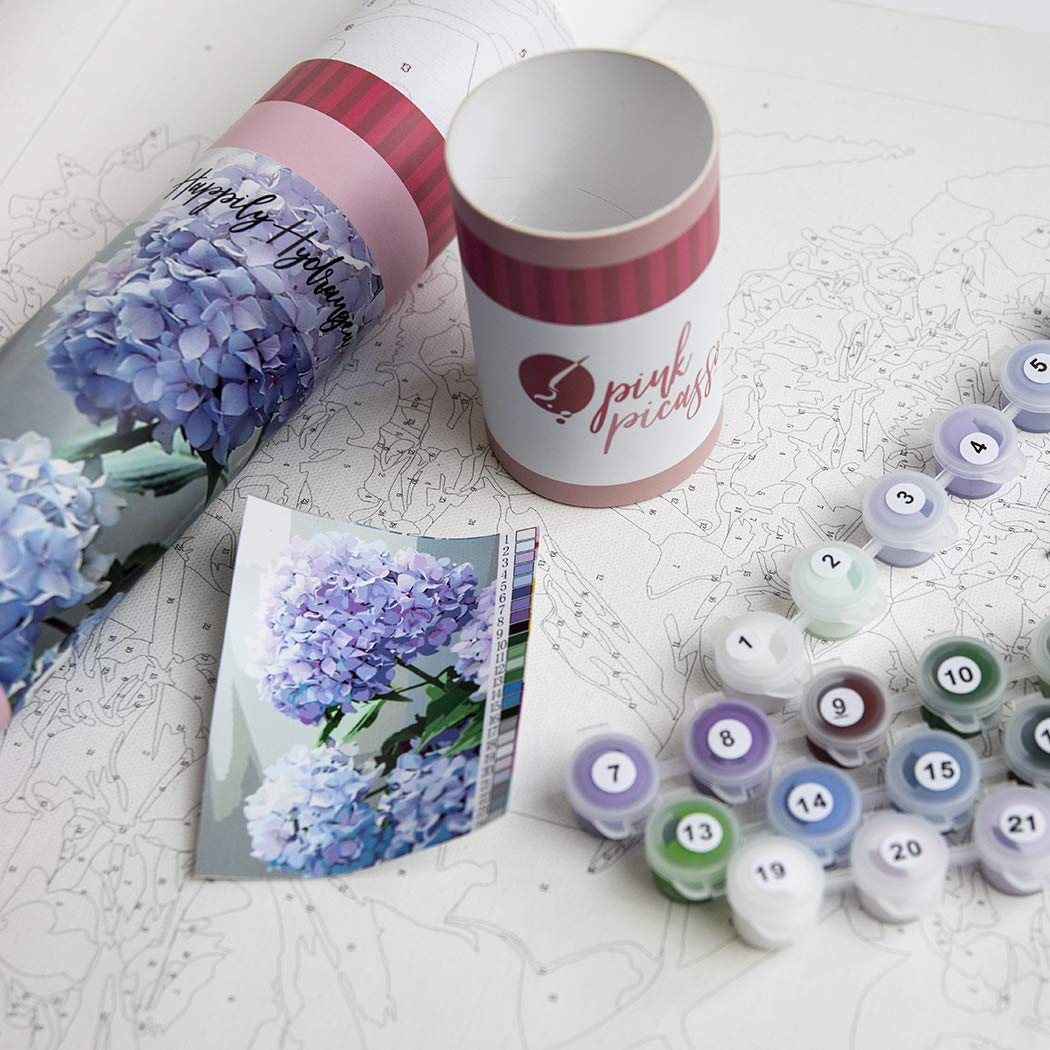 Pink Picasso Adult Paint by Numbers Kit 16x20 Happily Hydrangea