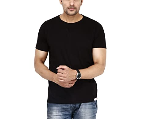 dd868122d Gazelles Cotton Black Half Sleeve Round Neck Plain T-Shirt/Tees for Men's/