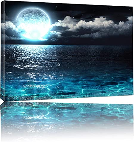 Amazon Com Wall Art Canvas Prints Natural Landscape Photo Sea And Moon Scene High End Led Light Up Prints Remote Control Scenery Picture Modern Painting Home Decor Wall Art For Bedroom Living Room Decor