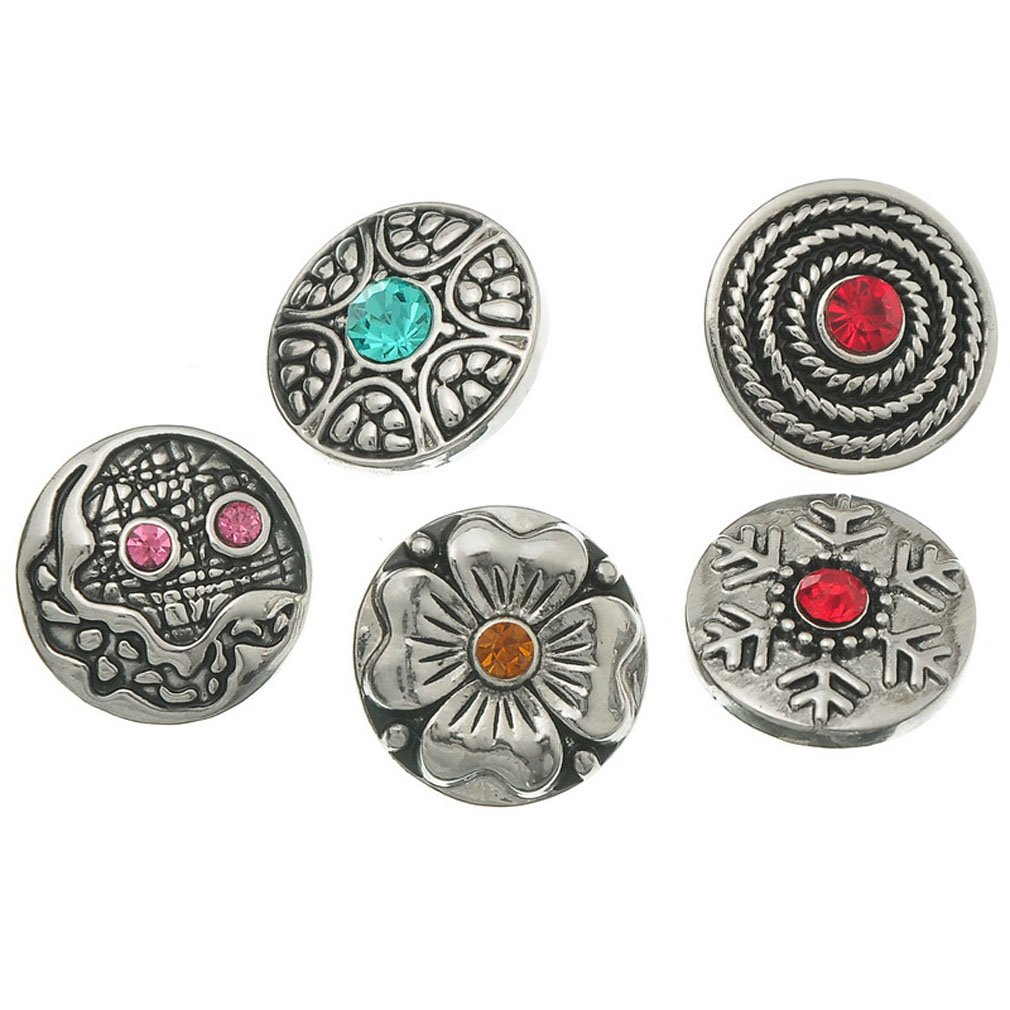 Souarts Mixed Antique Sliver Color Round Snap Button wth Rhinestone Fit Bracelets 20mm Pack of 10pcs