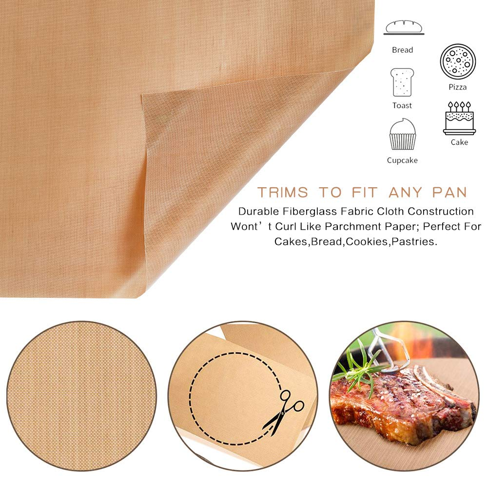 YJShop 7 Pack BBQ Grill Mat Non-Stick Barbecue Baking Mats Heat Resistant Barbecue Sheets Grilling Mesh Reusable BBQ Accessories with Tongs and Silicone Brush