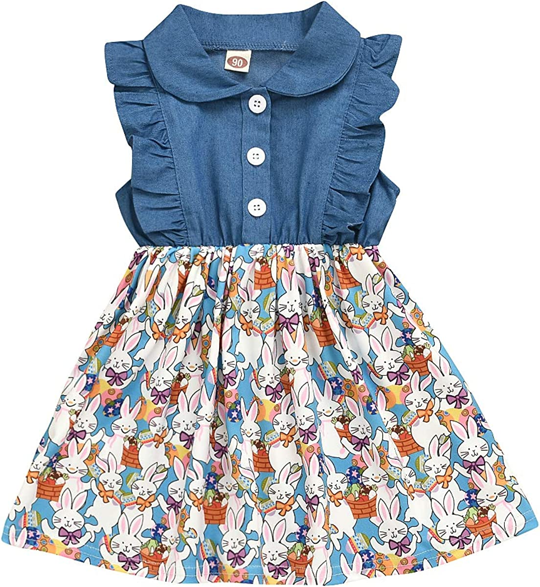 Goodplayer Newborn Baby Girl Easter Dress Lapel Denim Jacket Sleeveless Bunny Dresses