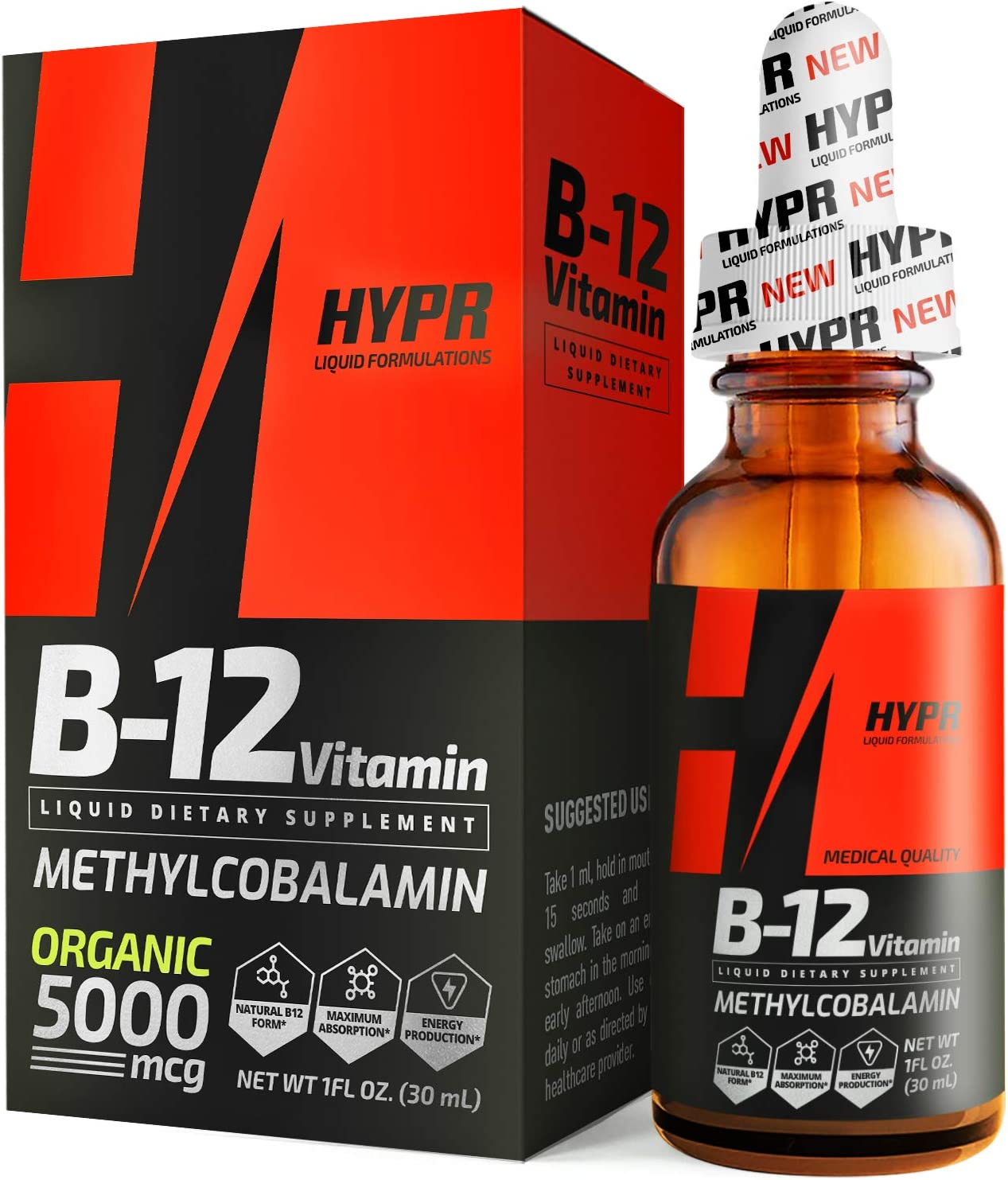 HYPR Vitamin B12 Sublingual Liquid Drops - 5000 MCG Supplement with Methylcobalamin (Methyl B-12) - Max Absorption B 12 to Increase Energy & Metabolism - Vegan Friendly - 1 fl oz