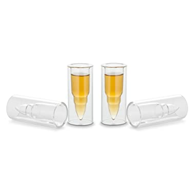 Decodyne Bullet Shaped Shot Glasses - Dual Layered Glass - Ideal for Bachelor Party Gifts - Perfect as Stocking Stuffers (Set of 4)