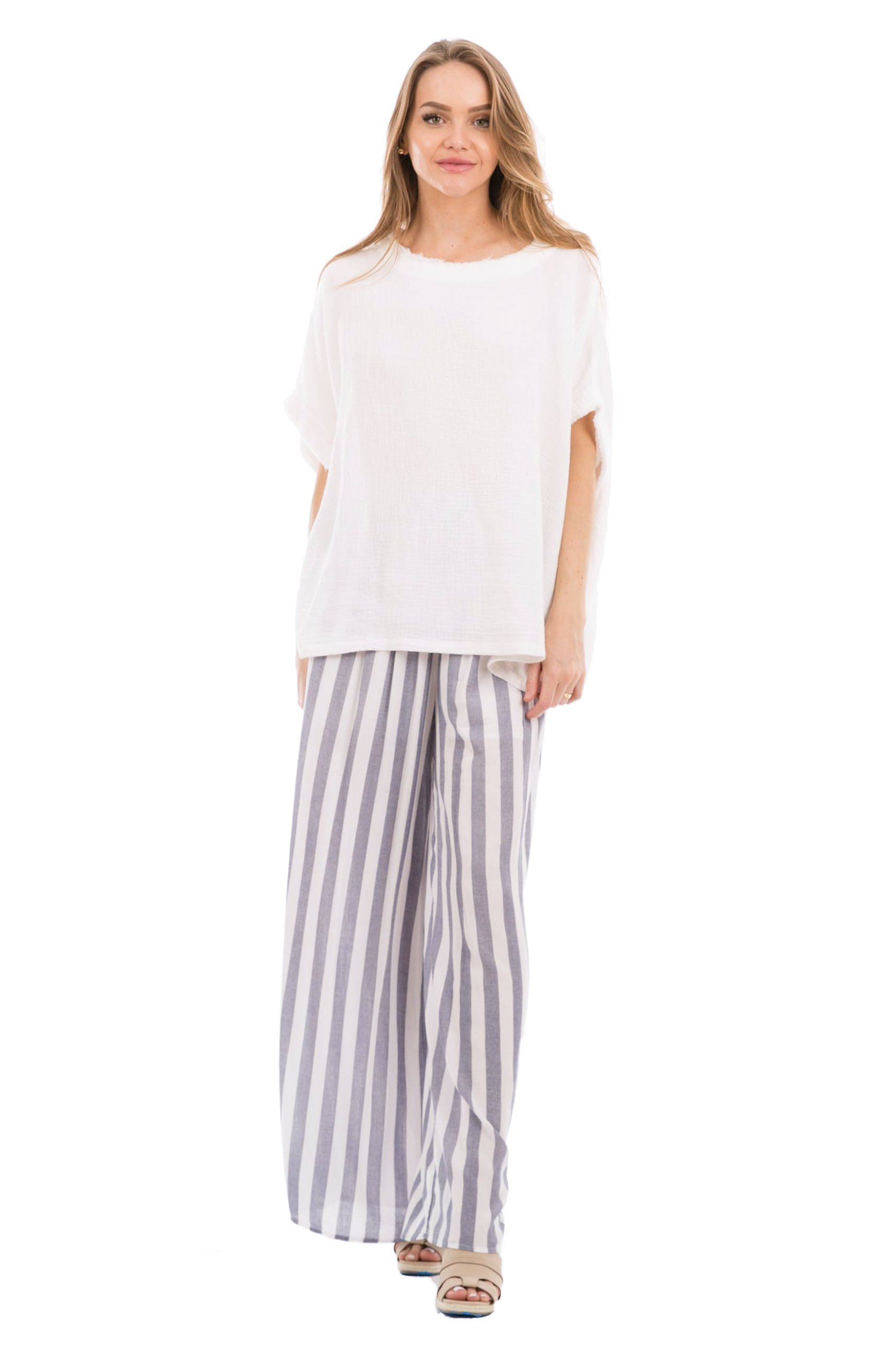 Love In P70010 Wide Leg Striped Pants with Pockets Navy/White M