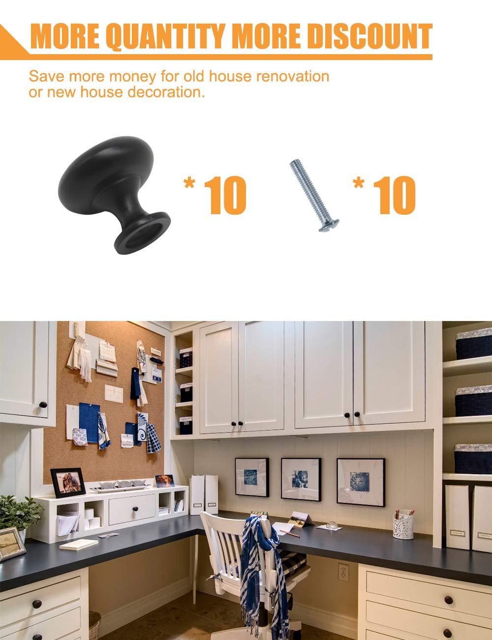 10 unidades incluye tornillos Pomos redondos para cajones 30 mm de di/ámetro PinLin Brushed Brass