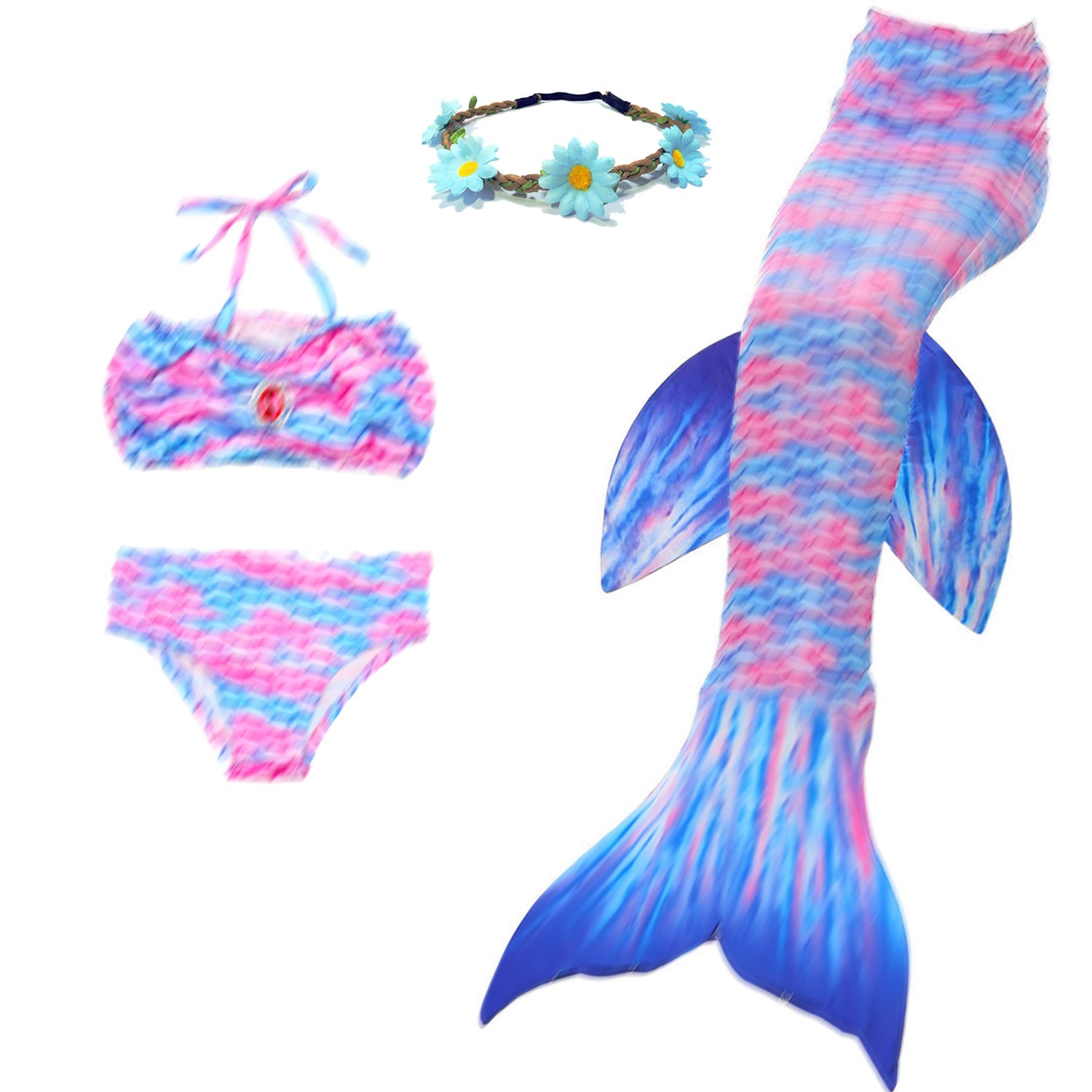 AMENON 4PCs Girls Mermaid Tails Swimsuits for Swimming Toddler Big Girl Bikini Set,3-12