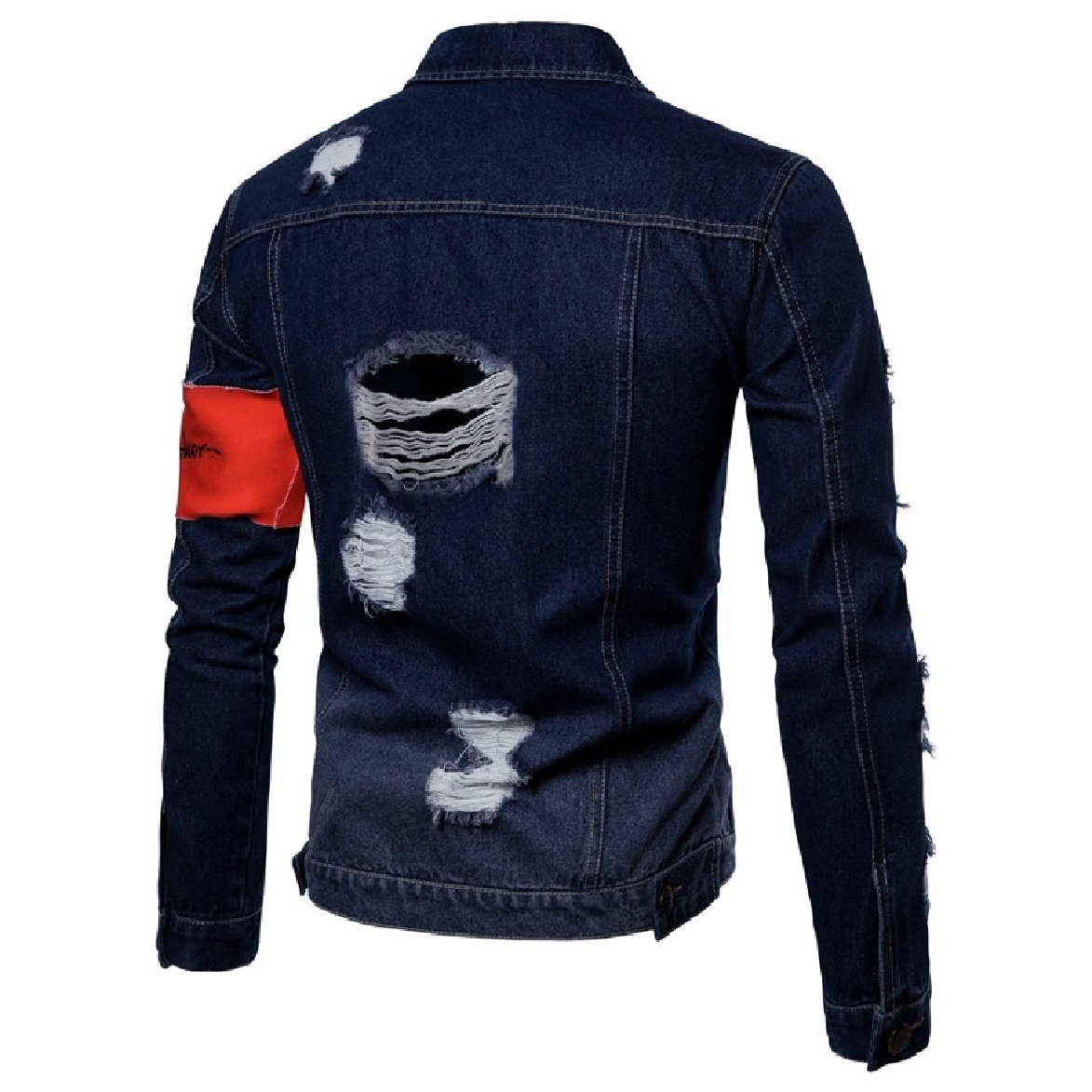 Yusky Mens Letter Printed Hole Button Down Trim-Fit Denim Jackets