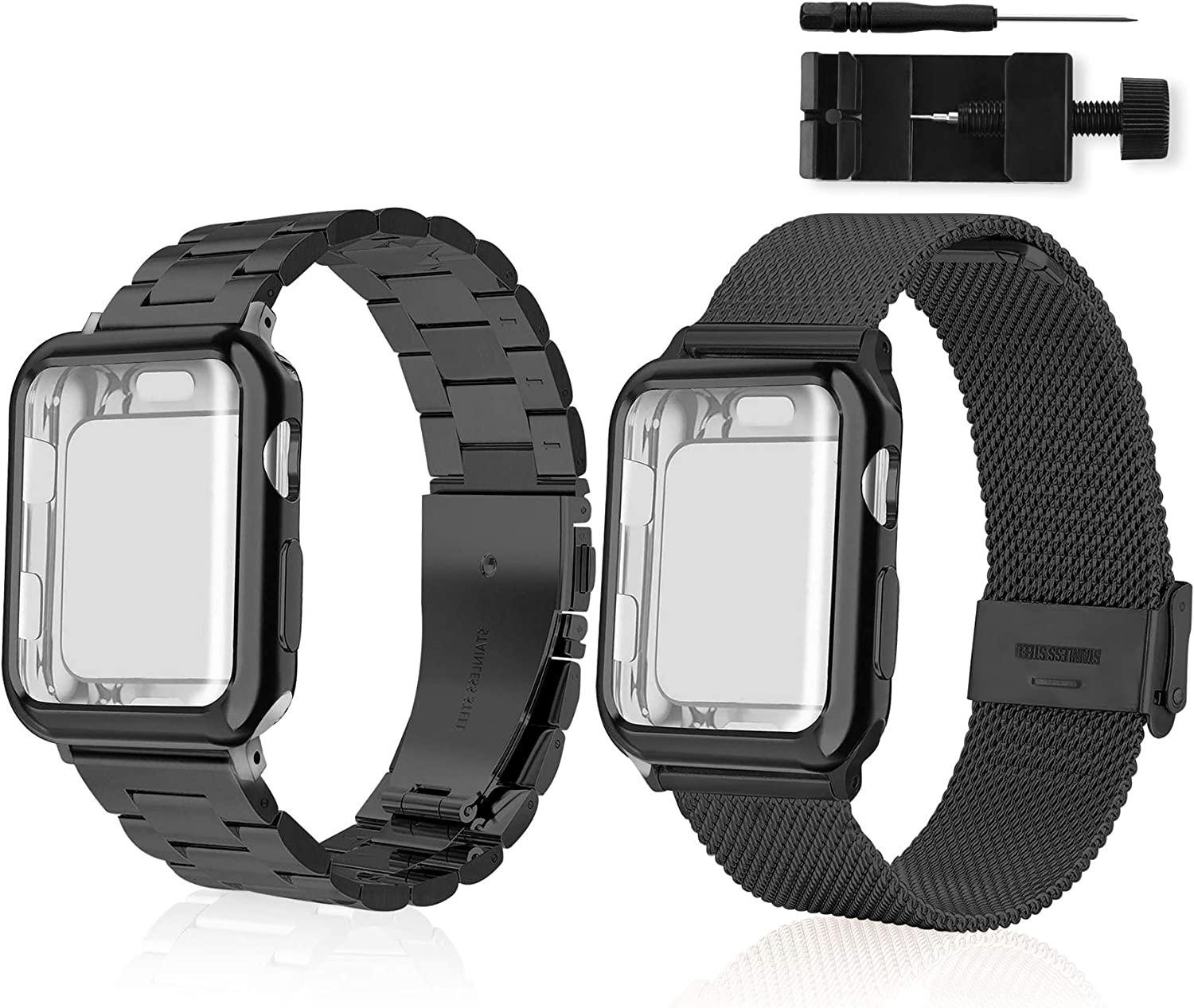 SPORUS Apple Watch Band [2 Pack], Metal Iwatch Band with Screen Protector Case for 42mm 44mm 38mm 40mm , Apple Watch Replacement Band for Iwatch Series 5/4/3/2/1 Black 42mm