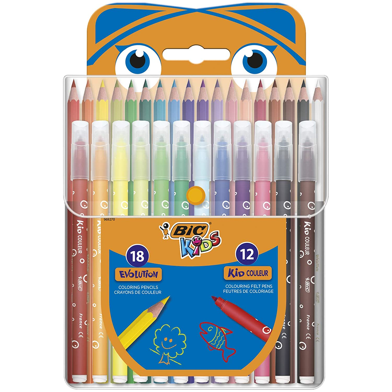 BIC Kids Kit para Colorear - 18 Lápices de colores, 12 rotuladores de colores, Estuche de Plástico de 30