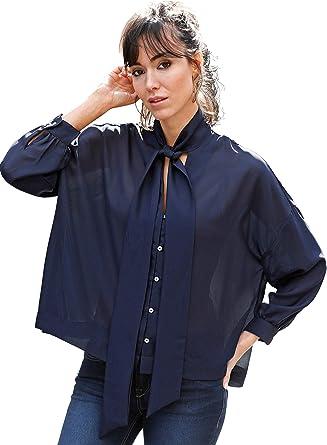 VENCA Camisa Oversize Lazos para anudar y Corte Cuadrado Mujer - 032226, Azul Marino, XL: Amazon.es: Ropa y accesorios