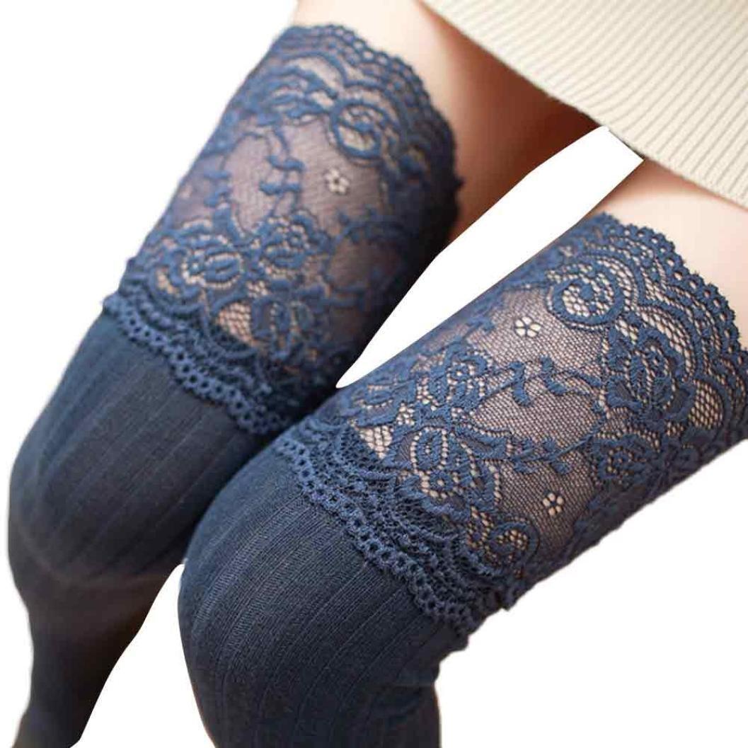 Damen Winter Halterlose Strümpfe Transer® Wärmer Häkeln Sock Knie-Lange Baumwoll Kniestrümpfe mit Spitze 62 cm