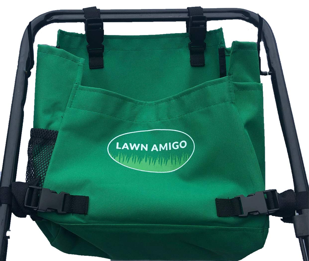 Lawn Amigo. Push Mower Organizer. Bag Clips to Walk-Behind Mower Handles and Stores Tools Water Bottle Phone Knife Tool Bags and iPhone (Black, Green, Red). Made in USA. Yard Gifts for Men. (Green)