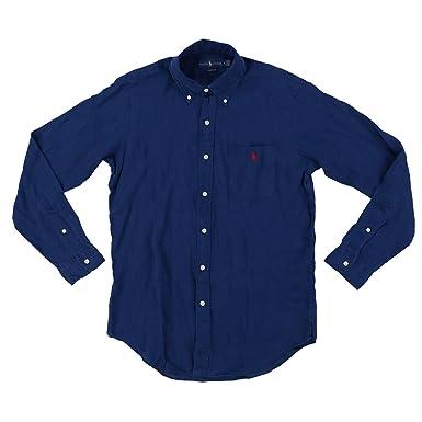 7c2f988886 RALPH LAUREN Mens Button Up Long Sleeve Linen Shirt at Amazon Men s  Clothing store