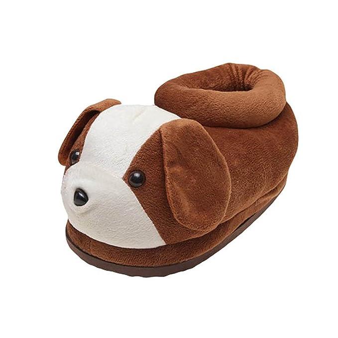 Minetom Mujer Hombre Otoño Invierno Zapatillas De Estar Por Casa Suave Zapatillas Lindo Caricatura Perro Slippers Perrito Interior Zapatos Marrón L: ...
