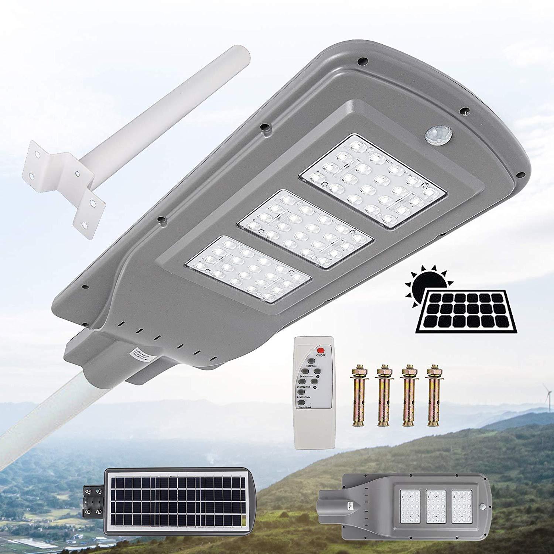 Mophorn Solar Street Light LED Street Light with Remote Controller LED Solar Street Light Waterproof LED Radar Sensor Street Lamp for Outdoor Applications (60W, with Light Arm)