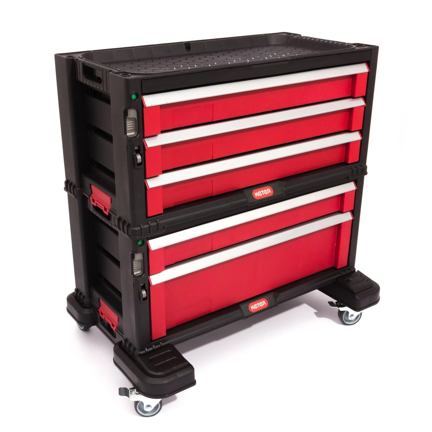 Keter Diy Tool Storage Trolley Tool Chest With 5 Drawers Black Red Silver
