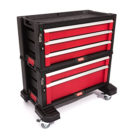 Keter Diy Tool Storage Trolley Tool Chest With 5 Drawers Black Red