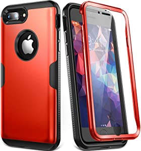 YOUMAKER Designed for iPhone 8 Plus Case & iPhone 7 Plus Case, Full Body Rugged with Built-in Screen Protector Heavy Duty Protection Slim Fit Shockproof Cover for iPhone 8 Plus (2017) 5.5 Inch - Red