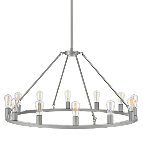 Sonoro Large 38 Inch Round 12 Light Dining Room Industrial Chandelier Silver Kitchen Island Light Fixtures With Led Bulbs Ll Ch5 38 1sil