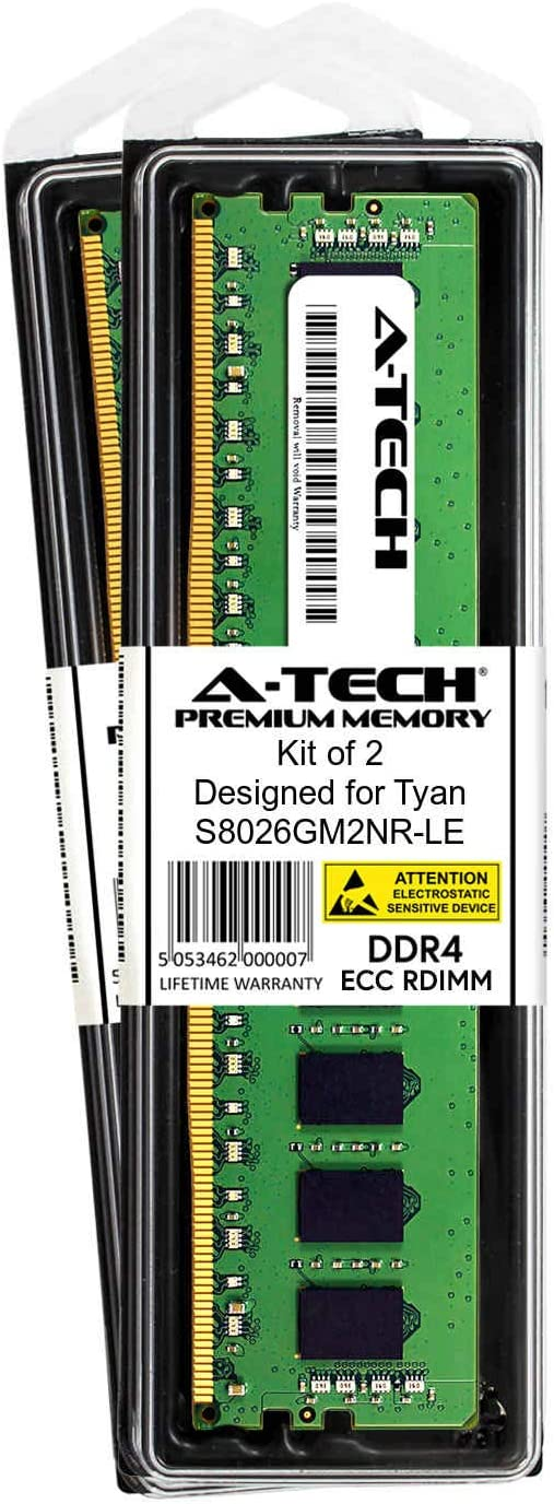 DDR4 PC4-21300 2666Mhz ECC Registered RDIMM 1rx8 AT361936SRV-X1R13 A-Tech 8GB Module for Tyan S8026GM2NR-LE Server Memory Ram