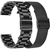 Band Sets for Samsung Galaxy Watch 42mm / Active 2 40mm 44mm, TRUMiRR 20mm 2 Pack Solid Stainless Steel Watchband + Mesh Woven Strap Quick Release Wristband for Garmin Vivoactive 3 Ticwatch E