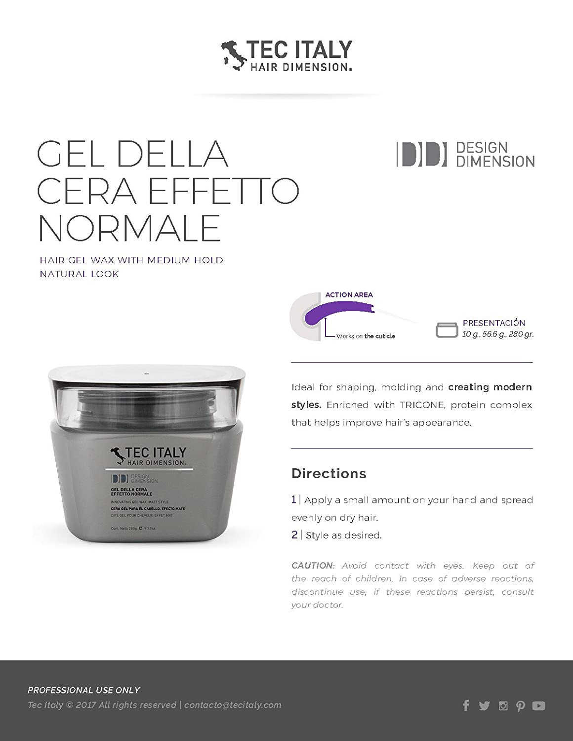 Amazon.com : Tec Italy Gel Della Cera Effetto Humedo - 280 g/9.8 oz : Hair Care Products : Beauty