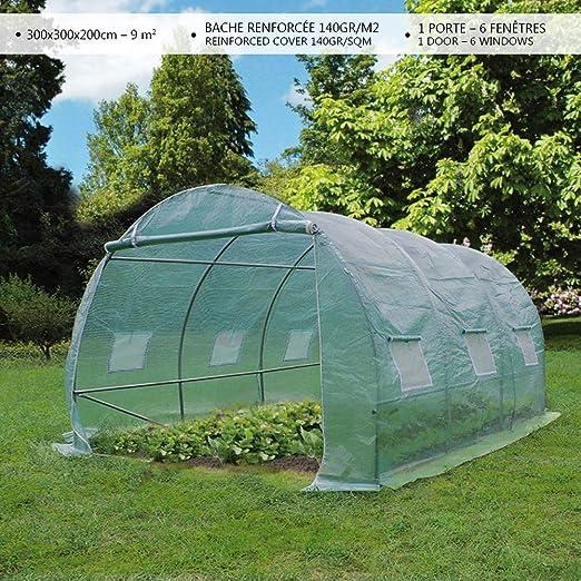 VOUNOT Invernaderos Jardin, Tunel Invernadero Huerto prar Plantas, Ubo de Acero y Plastico, Impermeable, 3 x 3 x 2 m, 9 m², Verde: Amazon.es: Jardín