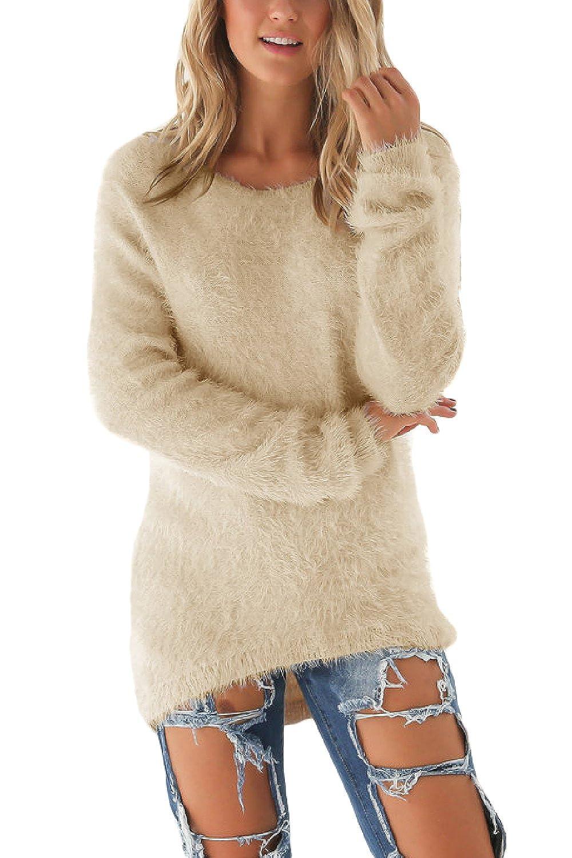 Fanvans Women Winter Plus Size Casual Long Sleeve Plain Pullover Sweater CAZC2129