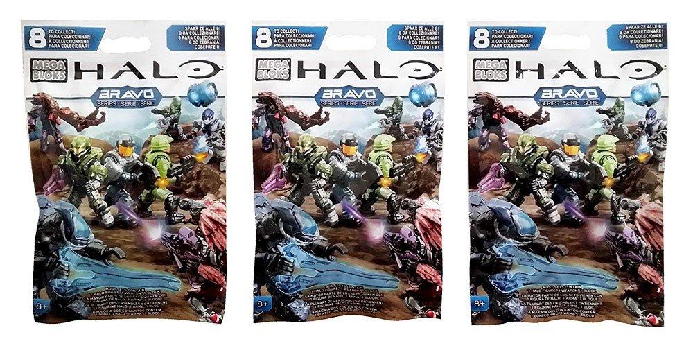 Mega Bloks Halo 3 Packs Bravo Series Mini Figure Blind Bags Total of 3 Packs