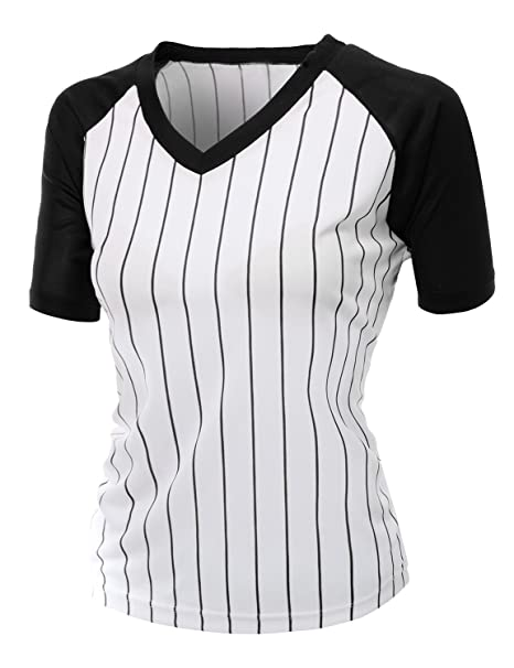 124a50fe50 Xpril Women's Casual Cool Max Striped Short sleeve basebALL V-neck Tee  BLACK Size S