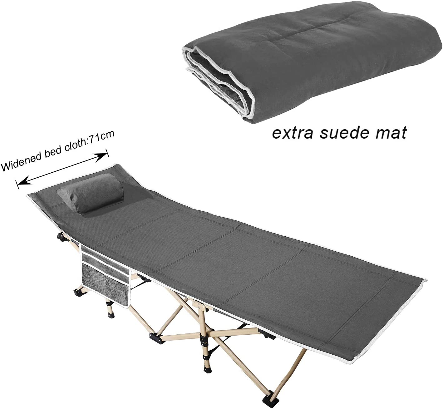 - SogesHome 71 Cm Wider Folding Camping Bed, Single Camping Bed For