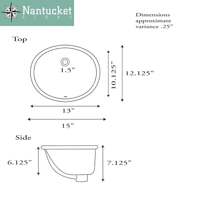 Nantucket Sinks UM-13x10-W 13-Inch by 10-Inch Oval Ceramic Undermount Vanity Sink White