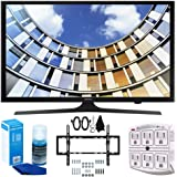 Samsung UN50M5300 Flat 50-Inch 1080p LED SmartTV (2017 Model) + Flat & Tilt Wall Mount Kit Ultimate Bundle for 32-60 inch TVs + SurgePro 6-Outlet Surge Adapter w/ Night Light + LED TV Screen Cleaner