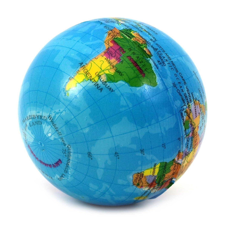 VANKER del globo del mundo Bola de la tensión de espuma terapia de la mano del apretón de Alivio de la bola del juguete: Amazon.es: Bebé