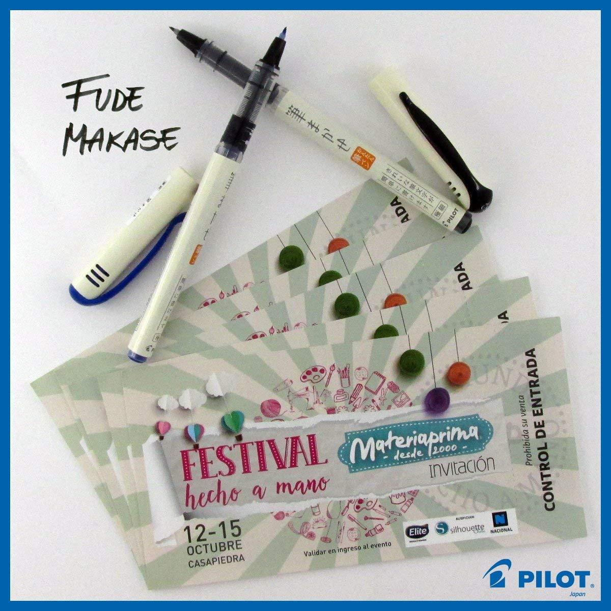 Pilot Fude Makase Color Brush Pen, 8 color (Black, Red, Orange, Blue, Blue Black, Green, Pink, Sepia) each 1 piece. with Original Case by Pilot Fude Makase