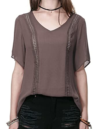 7da1ee92 Regna X Boho for Woman's Lace Point Flowy Brown Small Chiffon Blouse top