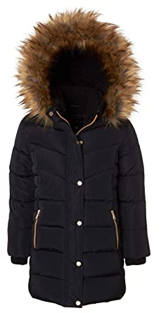 619b84e58 Amazon.com  Girls Heavy Quilt Fleece Lined Long Winter Jacket Coat ...