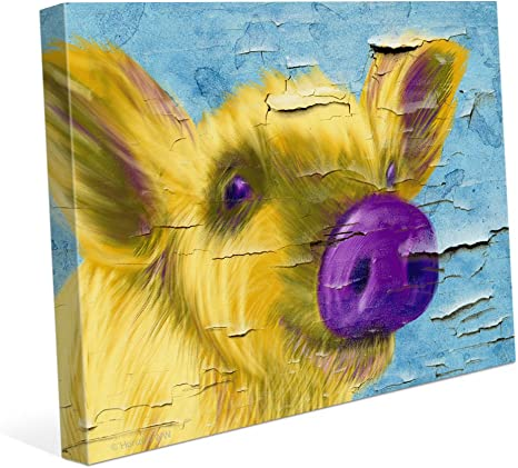 Distressed Chipped Paint Wall Purple Nose Pig Pop Art Canvas Art Print Wall Décor 8x10 Posters Prints