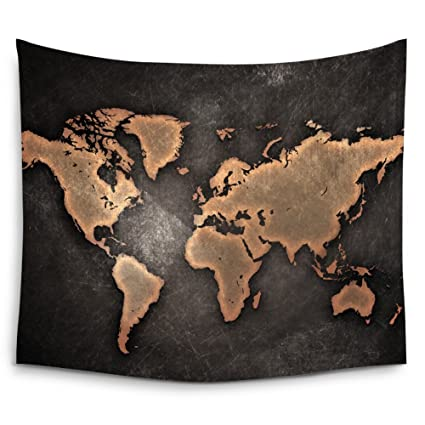 Amazon mugod general gold world map black background wall mugod general gold world map black background wall tapestry hanging polyester fabric wall art tapestries gumiabroncs Images