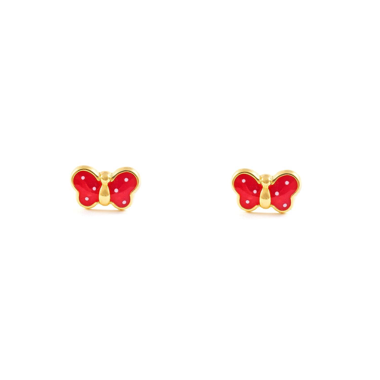 Monde Petit TP Pendientes de bebe niña oro kts mariposa esmaltada