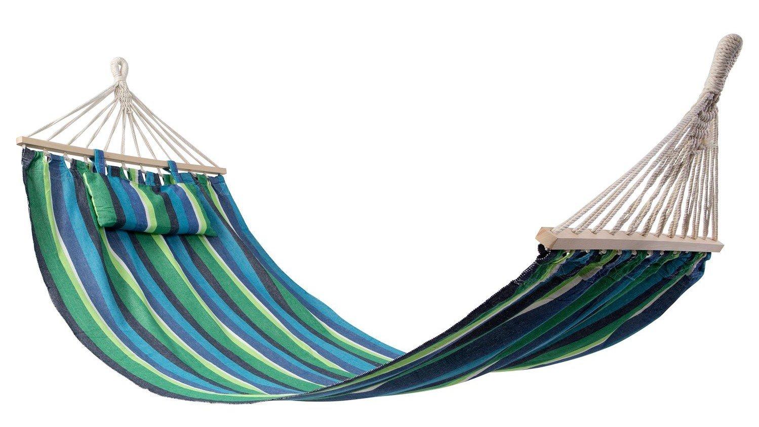 KASA Amaca da Giardino all'Aperto con Cuscino, Strisce Blu, Tessuto di Cotone, 200x100cm