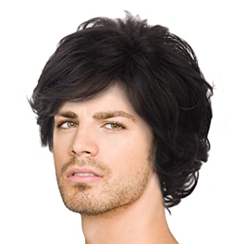 Amazon Com Acecharming Black Wig Fashion Men Boy Natural Curly