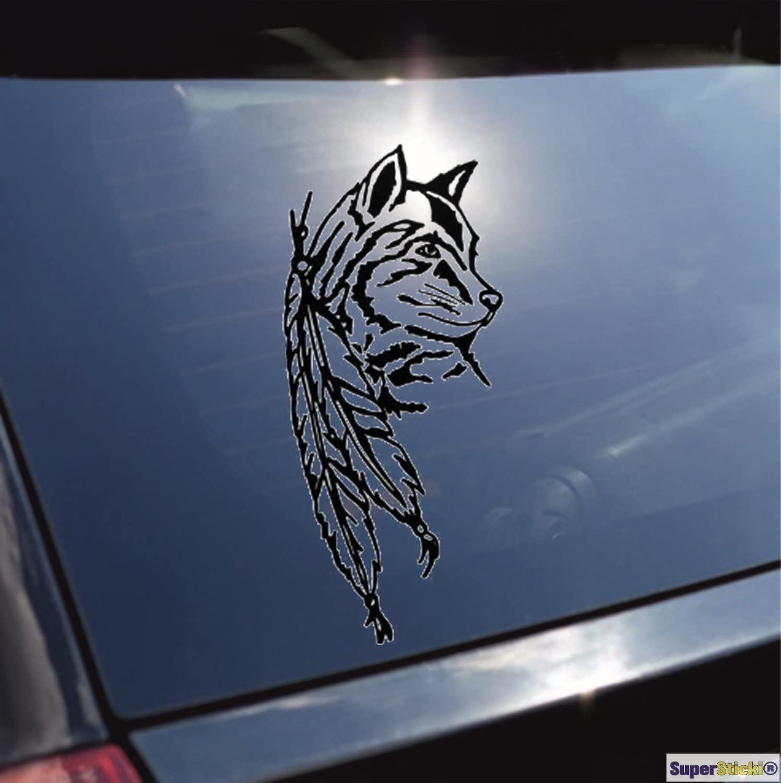 Supersticki Wolf Indianer Feder Wilder Westen Aufkleber Ca 20 Cm Autoaufkleber Tuningaufkleber Hochleistungsfo Auto