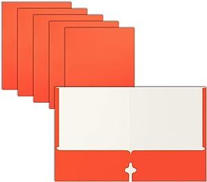Two Pocket Portfolio Folders, 50-Pack, Orange, Letter Size Paper Folders, by Better Office Products, 50 Pieces, Orange