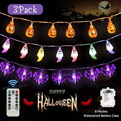 Halloween Decorations Lights Halloween String Lights Set of 3 Battery Operated 8 Modes Waterproof 3D Pumpkin Bat Ghost Fairy String Lights 30 LED Each for Outdoor Indoor Halloween Party Decorations