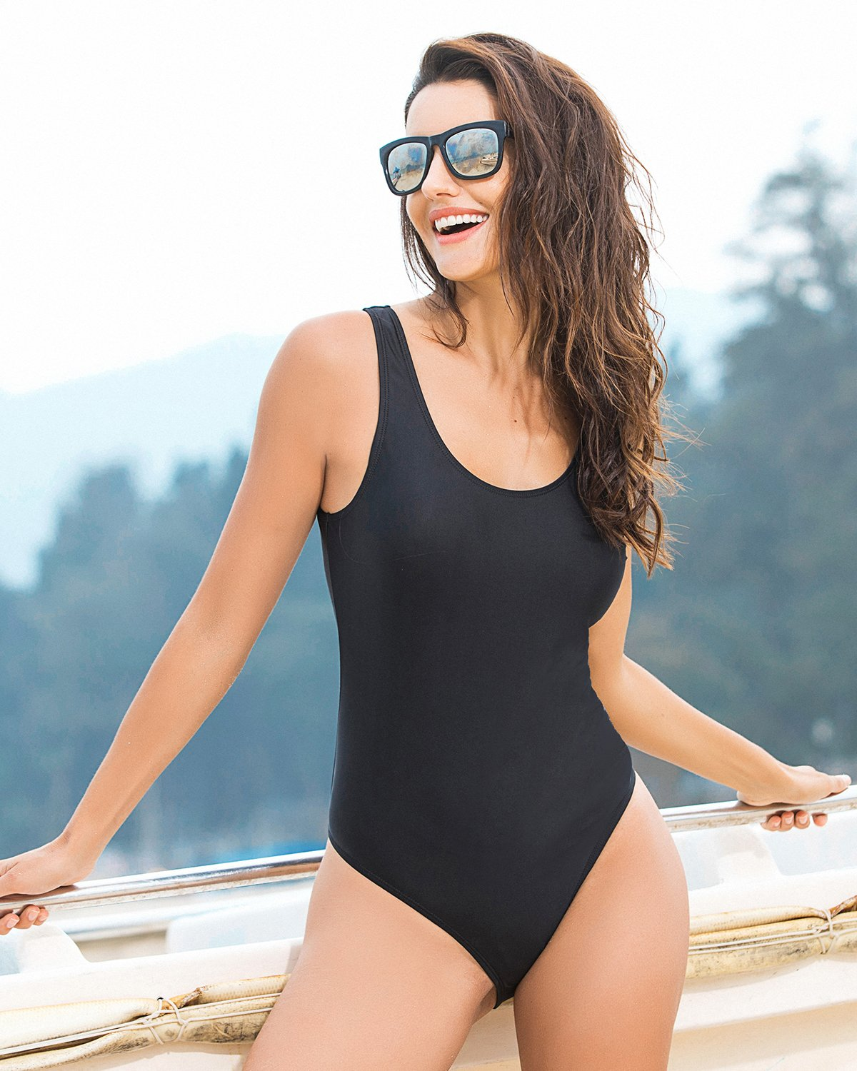 Funnygirl Women's Sexy Retro One Piece Swimsuit High Cut Backless Beach Swimwear Bathing Suit Black Medium by Funnygirl (Image #2)